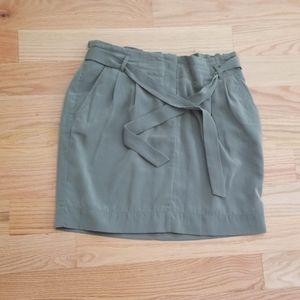 Olive Green Paper Bag Skirt